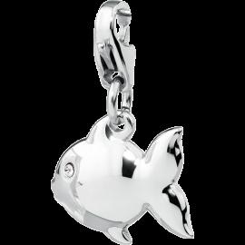 S'AGAPÕ Happy Charm Pesce con Cristalli Argento
