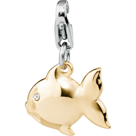 S'AGAPÕ Happy Charm Pesce con Cristalli Oro