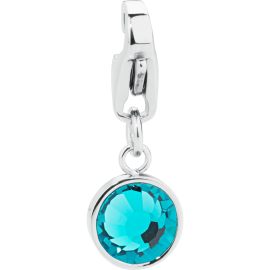 S'AGAPÕ Happy Charm in Acciaio e Cristalli Blue Zircon